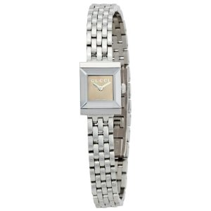 Gucci G-Frame Women's Brown Dial Watch YA128501; silver linked bracelet with brown dial