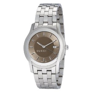Gucci G Class Men's Watch YA055215 - silver band and case, round with brown dial