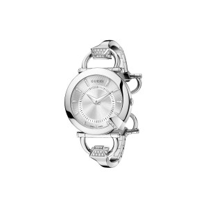 4494bc2a8d2 Gucci Chiodo Steel Diamond Bangle Women s Watch and Case YA122514 - Silver