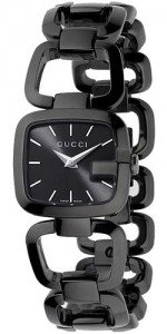 G-Gucci Black Sun Brushed Dial and Black Stainless Steel Watch YA125504