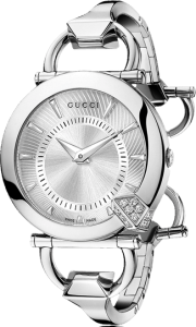 Front View of Gucci Women's Chiodo Diamond and Steel Watch YA122513