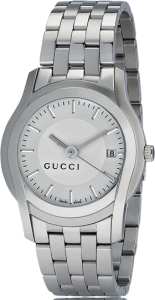 Front View of Gucci Women's G- Frame Rectangular Stainless Steel and Diamond Watch YA127505