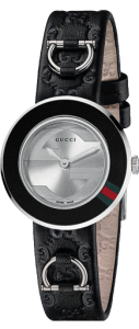 Gucci Women's U-Play Interchangeable Accented Bezel and Black Leather Strap
