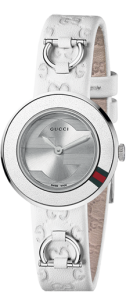 Gucci Women's U-Play Accented Bezel and White Leather Strap U-Play YFA5003