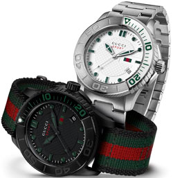 Image of the Gucci G-Timeless YA126232 with another watch in the collection