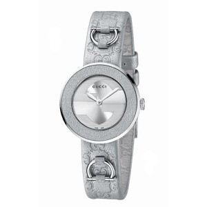 Gucci Women's YA129507 U-Play Silver Leather Watch