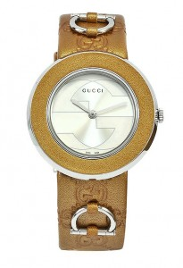 Front View - Gucci U-play Interchangeable Women's Leather and Stainless Steel Watch