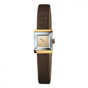 The Gucci G-Frame Square Women's Brown Satin Strap 18k Case Watch YA128506
