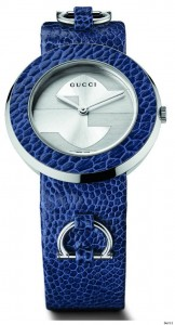 U-Play watch in ostrich blue bezel and strap