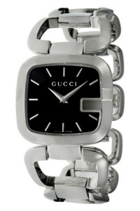 Silver Gucci G watch with Black Dial