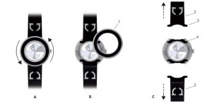 Diagram showing how to change the straps and bezel of a Gucci U-Play watch